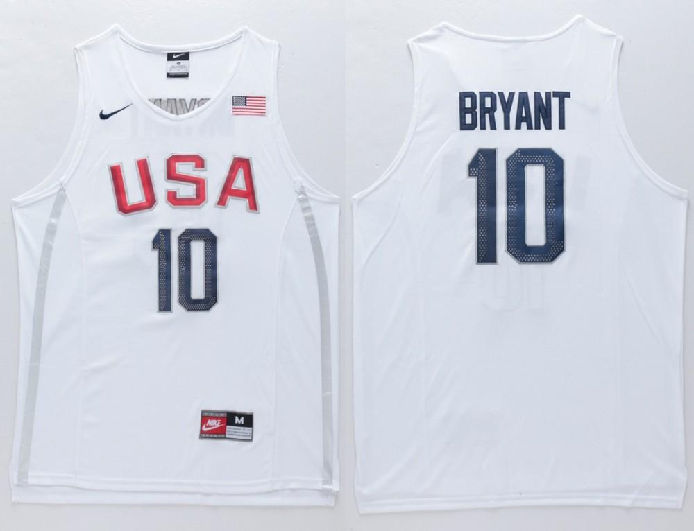 USA 10 Kobe Bryant White 2016 Dream Team Salute Basketball Jersey