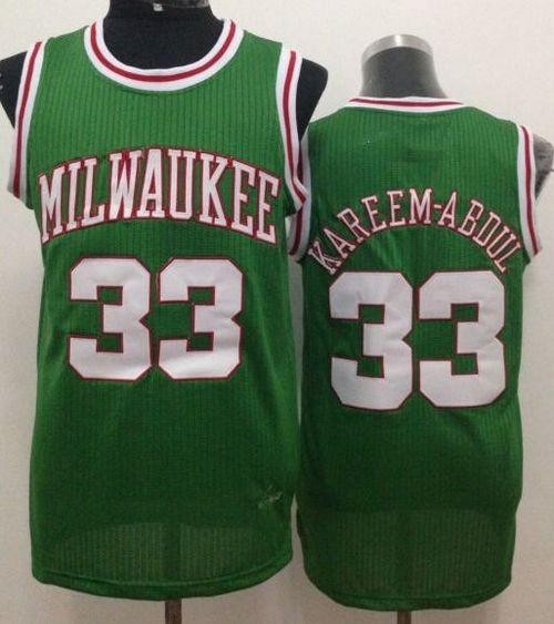 low priced 202d1 19a43 NBA Bucks 33 Kareem Abdul-Jabbar Green Throwback Men Jersey