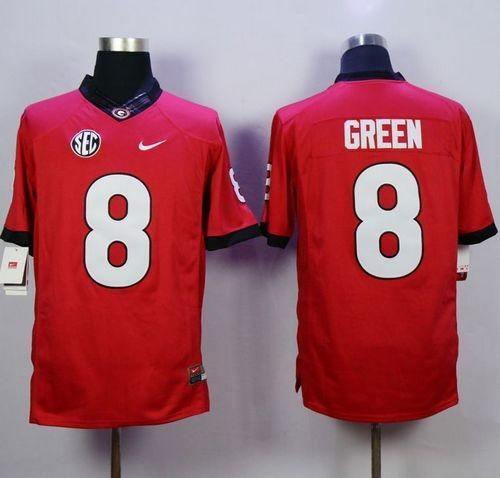 NCAA Georgia Bulldogs 8 A.J. Green Red Men Jersey