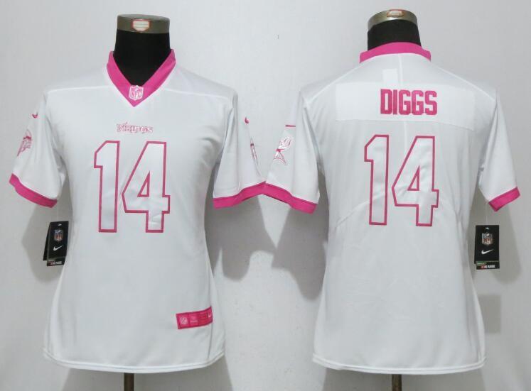 cheap for discount 073e3 2083b Nike Vikings 14 Stefon Diggs White Pink Women Game Jersey