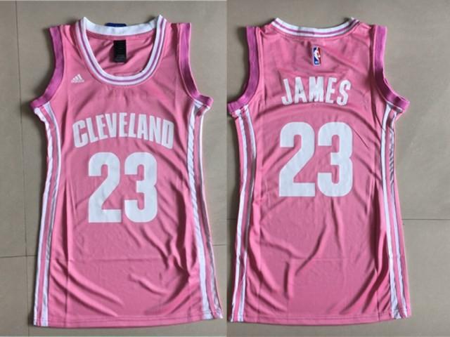 NBA Cavaliers 23 LeBron James Pink Swingman Women Jersey