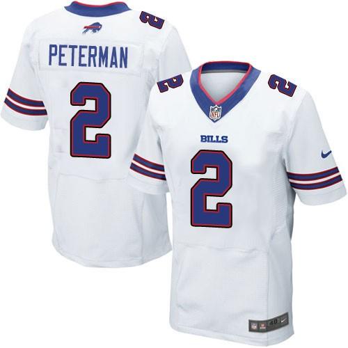 Nike Bills 2 Nathan Peterman White Elite Men Jersey