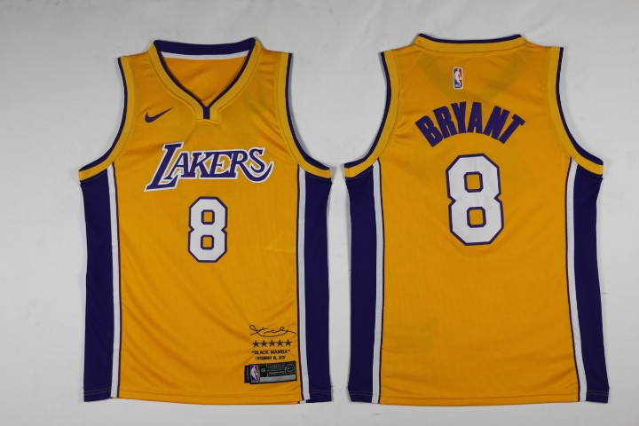 NBA Lakers 8 kobe Bryant Yellow Black Mamba Swingman Nike Men Jersey