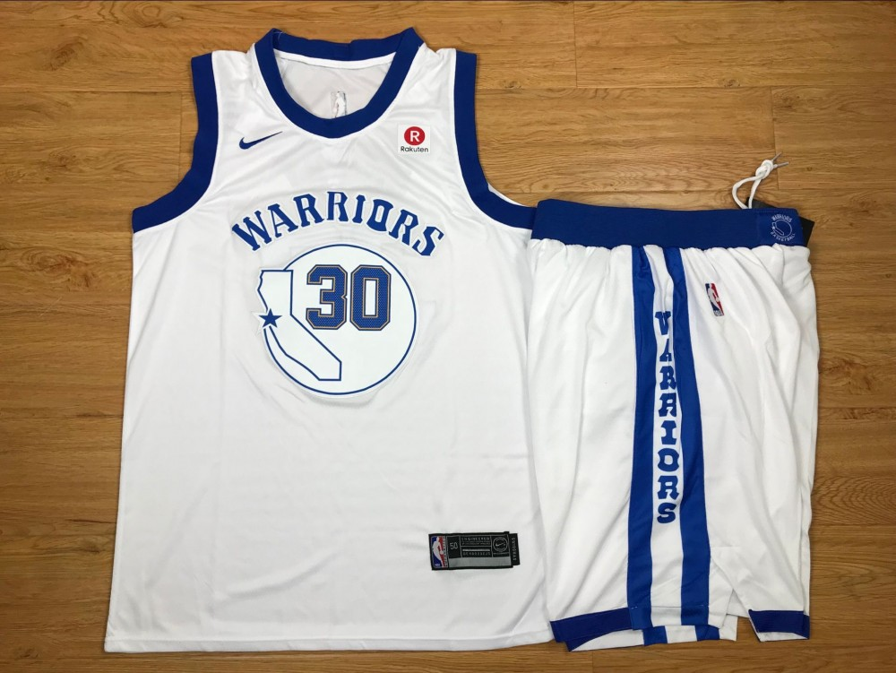 e0ae3acd NBA Warriors 30 Stephen Curry White Fashion Current Player Hardwood  Classics Nike Men Jersey With Shorts