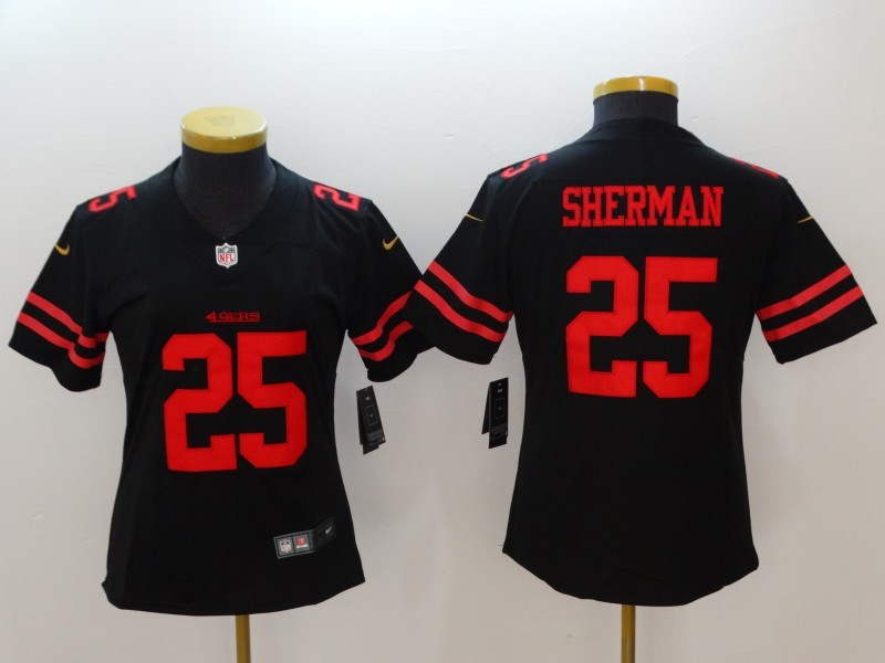 the best attitude e2a90 a7b41 NFL Nike 49ers 25 Richard Sherman Black Women Jersey