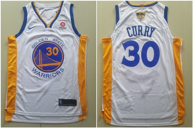 newest 161f8 62382 NBA Warriors 30 Stephen Curry 2018 NBA Finals Patch White ...