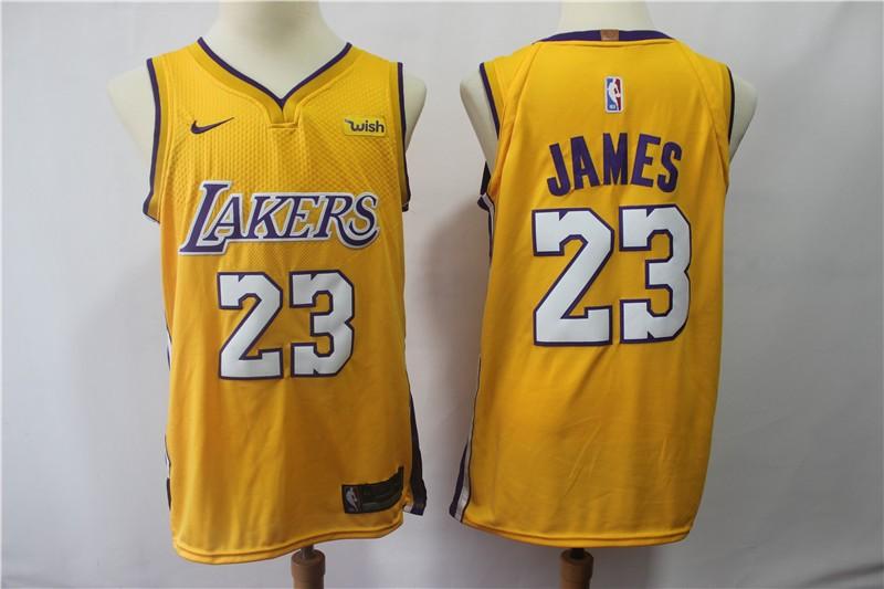 NBA Lakers 23 LeBron James Yellow Swingman Nike Men Jersey