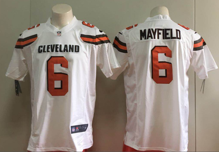buy online b9f44 416b9 NFL Browns 6 Baker Mayfield Nike White Game Men Jersey