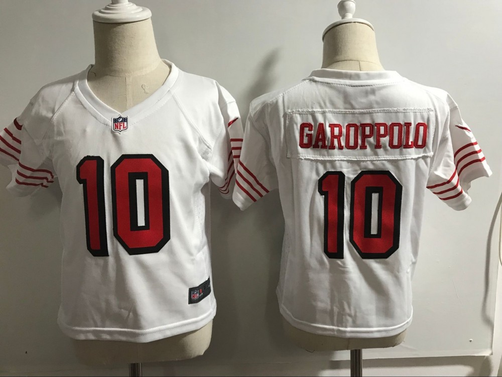 big sale 4d2cd 41192 Nike 49ers 10 Jimmy Garoppolo White Throwback Toddler Jersey