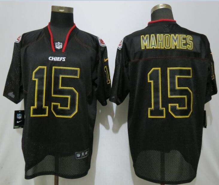 uk availability 191c4 ad700 Nike Chiefs 15 Patrick Mahomes Black Lights Out Elite Men Jersey