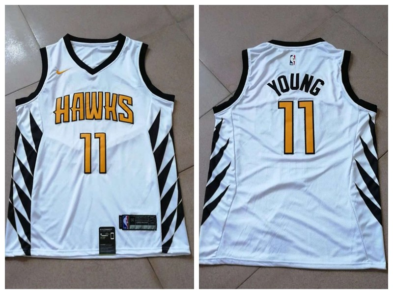 watch 6ee61 15f95 NBA Hawks 11 Trae Young White 2018-19 City Edition Swingman ...