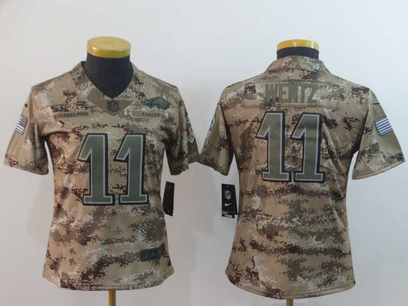 huge selection of 2399b 3d757 Nike Eagles 11 Carson Wentz 2018 Camo Salute To Service ...