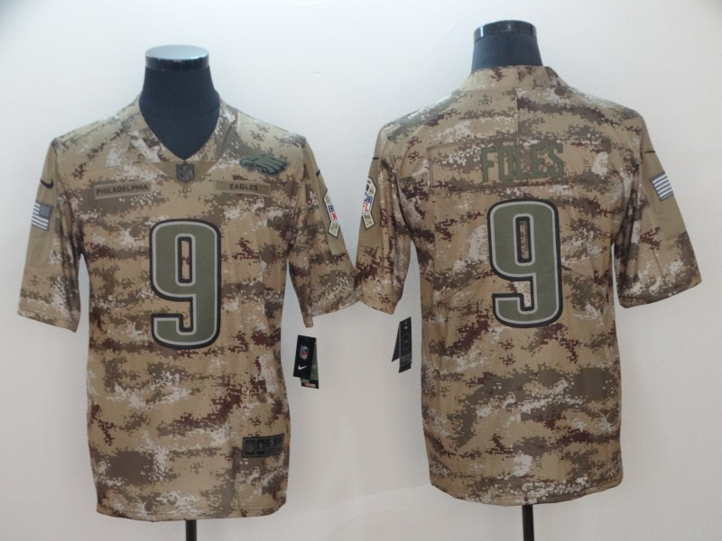 size 40 cccf3 edfc2 Nike Eagles 9 Nick Foles 2018 Camo Salute to Service Limited ...