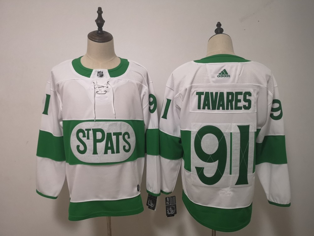 info for 596bc f5ab0 NHL Leafs 91 John Tavares White 2019 St. Patrick s Day Adidas Men Jersey
