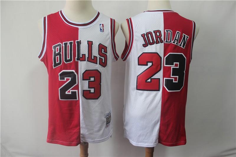 buy online 27fa5 d829b NBA Bulls 23 Michael Jordan Red&White Split Hardwood ...