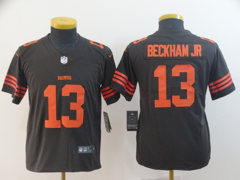 online retailer 3e2c9 39419 Nike Browns 13 Odell Beckham Jr Brown Color Rush Limited ...