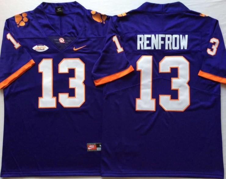new style 66414 df546 NCAA Clemson Tigers 13 Hunter Renfrow Purple Football ...