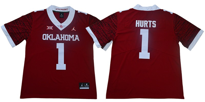 NCAA Oklahoma Sooners Jordan 1 Jalen Hurts College Football Red ...