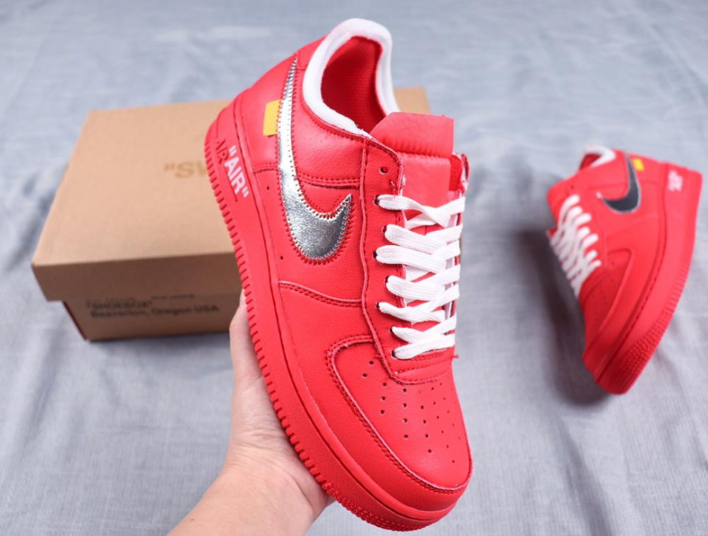 Off White X Nk Air Force 1 Ow Red Shoes