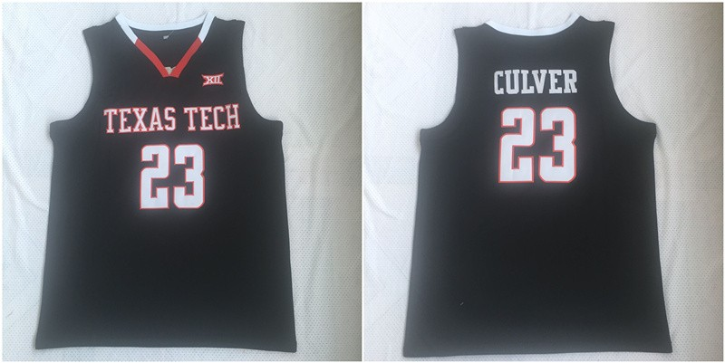 Ncaa Texas Tech Red Raiders 23 Jarrett Culver Black College Basketball Men Jersey