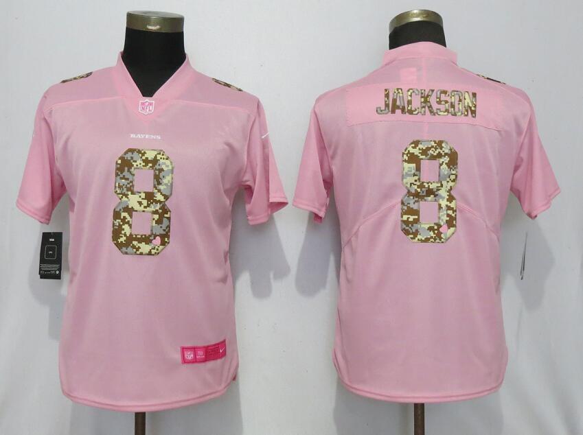 sale retailer af314 68b1c Nike Ravens 8 LaMar Jackson Pink Camo Fashion Limited Women ...