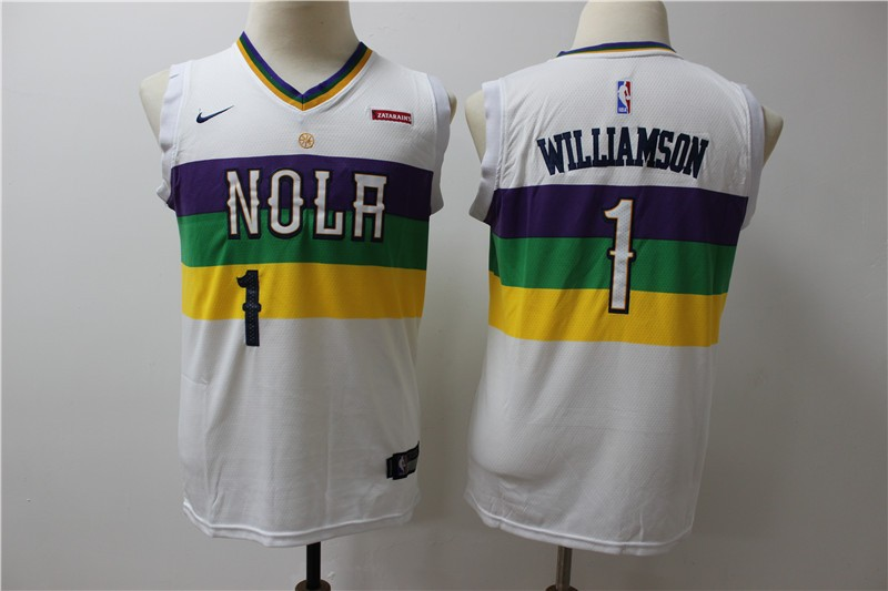 los angeles bcc36 14dd4 NBA Pelicans 1 Zion Williamson White City Edition Nike ...