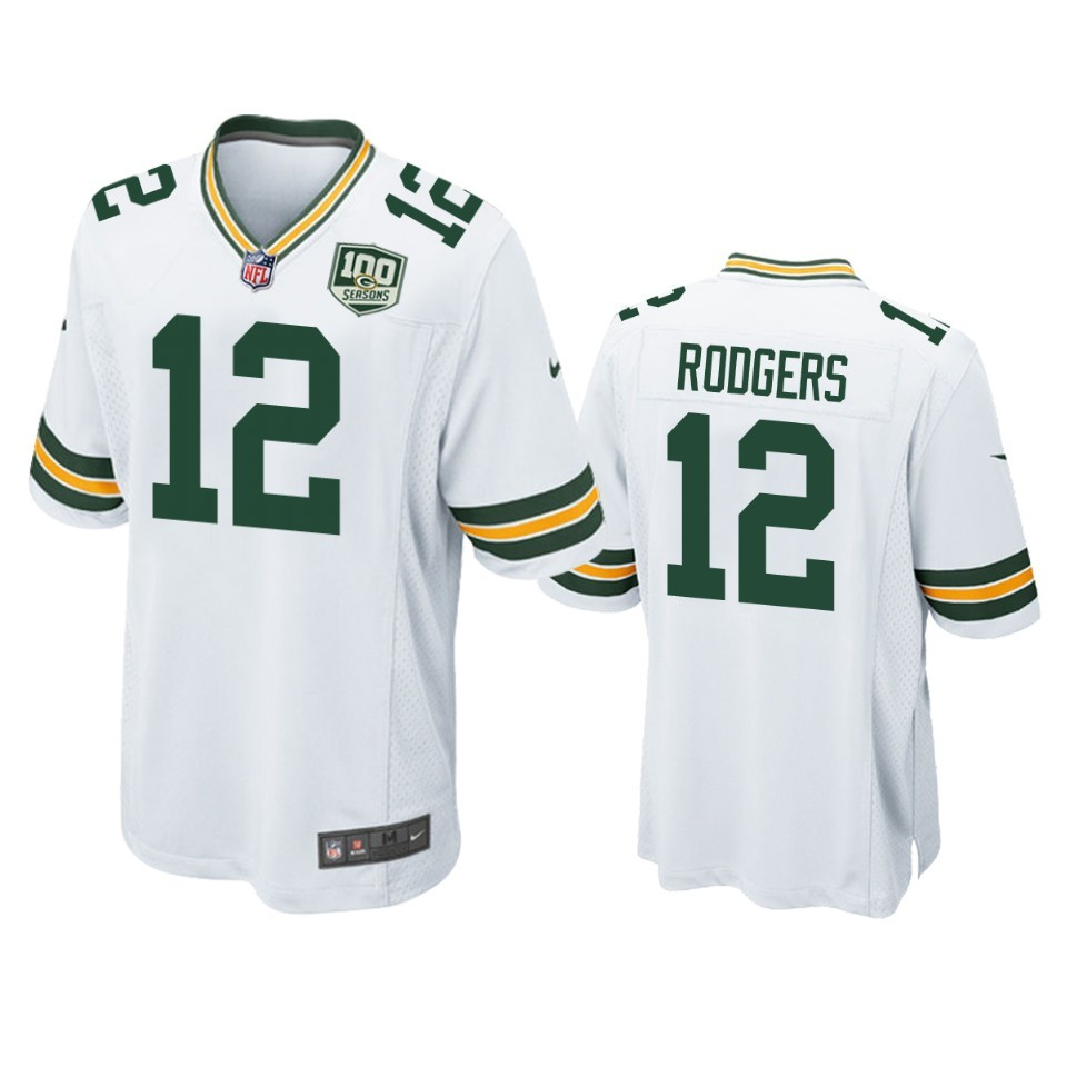 NFL Green Bay Packers 12 Aaron Rodgers White 100th Season Game Men ...
