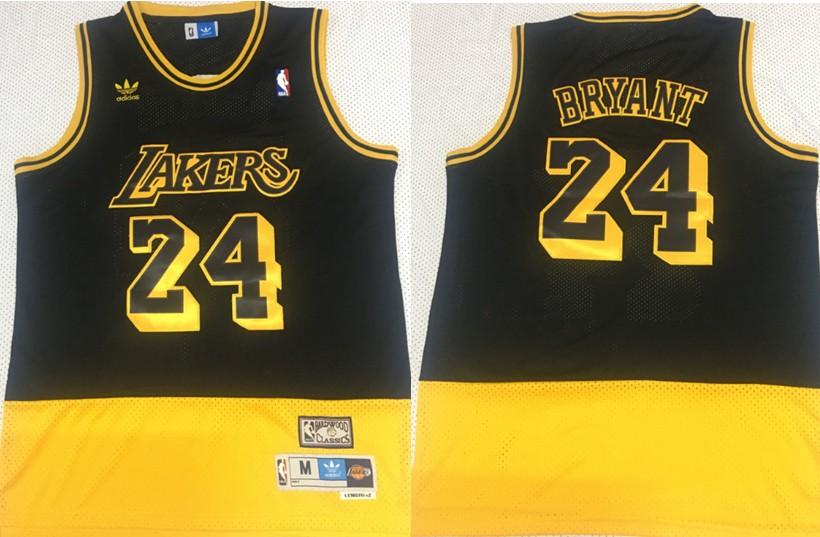NBA Lakers 24 Kobe Bryant Fluorescent Black Yellow Split Hardwood ...