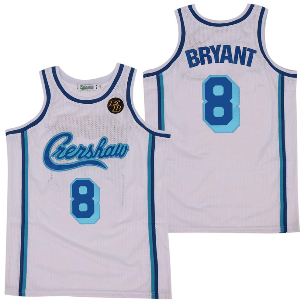 NBA LA Lakers Concept Crenshaw 8 Kobe Bryant White KB Patch Men Jersey