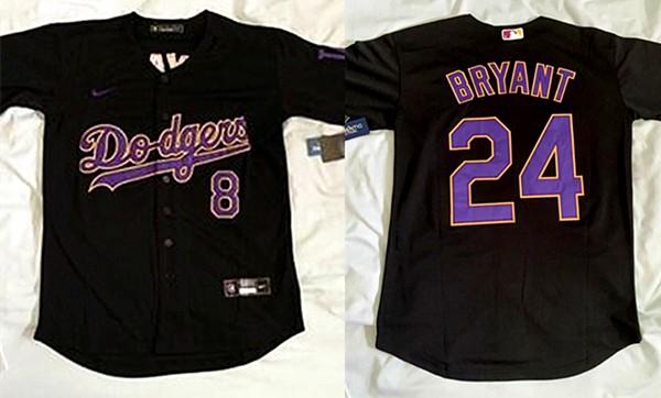 MLB Dodgers Front 8 Back 24 Kobe Bryant Throwback Black Cool Base ...
