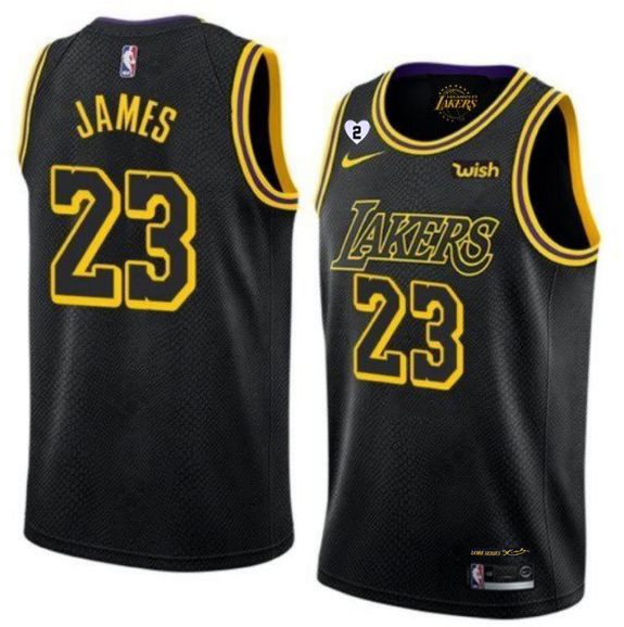 NBA Lakers 23 LeBron James With Gigi Patch Black Men Jersey