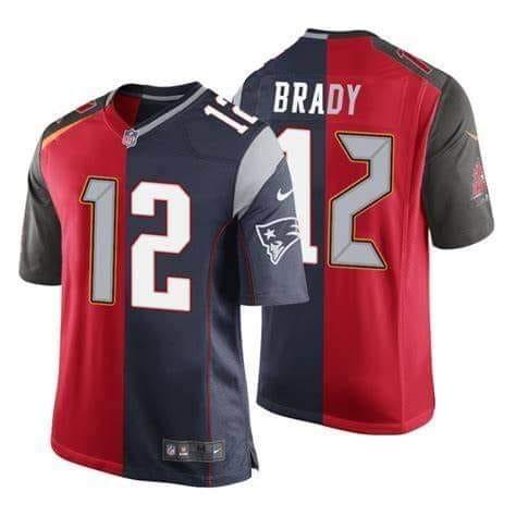 Nike Buccaneers & Patriots Tom Brady Split Limited Men Jersey