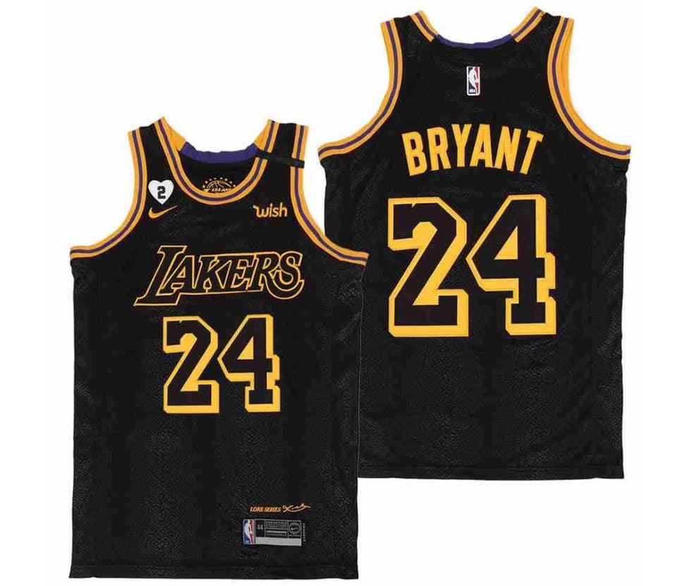 NBA Lakers 24 Kobe Bryant Black Mamba City Gigi Patch Men Jersey