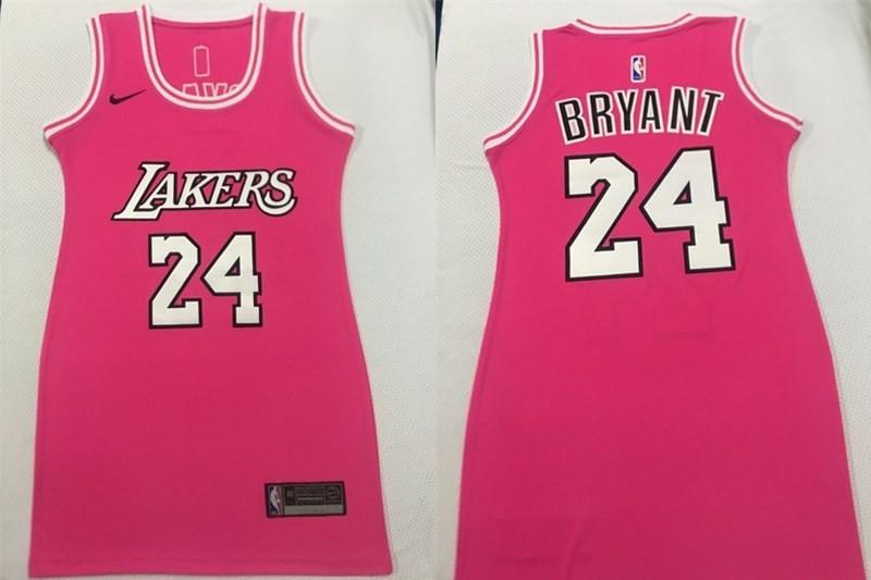 NBA Lakers 24 Kobe Bryant Pink Dress Women Jersey