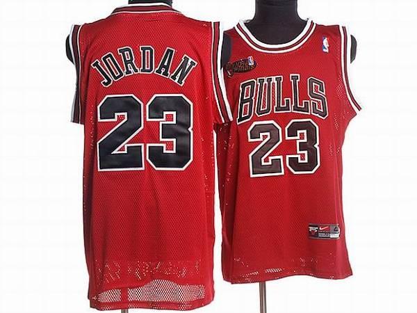 brand new 5ad15 890a8 NBA Bulls 23 Michael Jordan Red Champion Patch Men Jersey