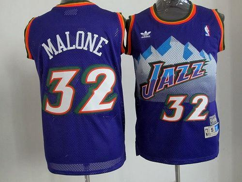 the latest 015df 4f458 NBA Jazz 32 Karl Malone Purple Throwback Men Jersey