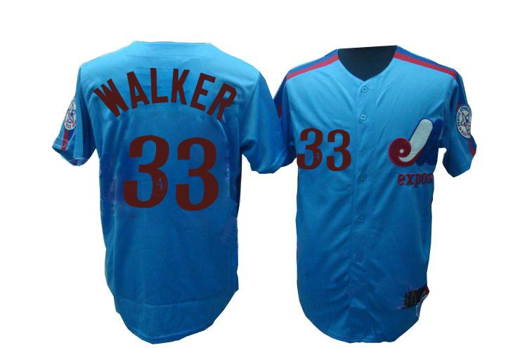 purchase cheap 81966 16f27 MLB Expos 33 Larry Walker Blue Mitchell and Ness Throwback ...