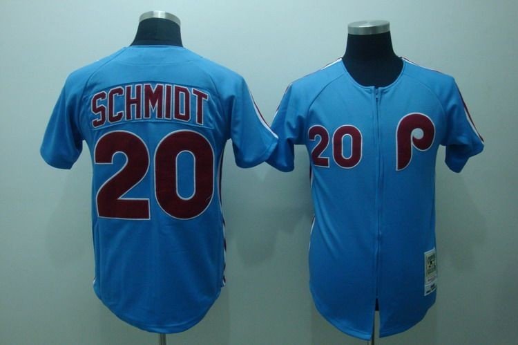 sports shoes af139 5a209 MLB Phillies 20 Mike Schmidt Blue Mitchell and Ness ...