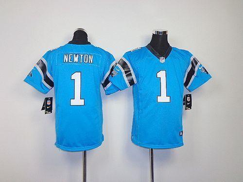 best service 548e5 8e0f7 Youth Nike Carolina Panthers 1 Cam Newton Blue Elite Jersey
