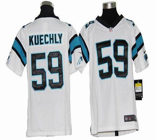 buy popular a95da 3eb0b Youth Nike Carolina Panthers 59 Luke Kuechly White Elite Jersey