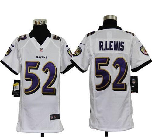 Youth Nike Baltimore Ravens 52 Ray Lewis White NFL Elite Jersey