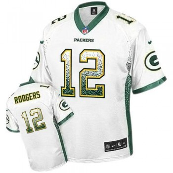 Nike Green Bay Packers No.12 Aaron Rodgers White Male Elite Drift Fashion Jersey
