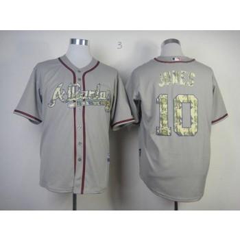MLB Braves 10 Chipper Jones Grey USMC Cool Base Men Jersey