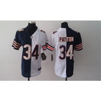 Bears 34 Walter Payton Navy Blue White Female's Embroidered China NFL Elite Split Jersey