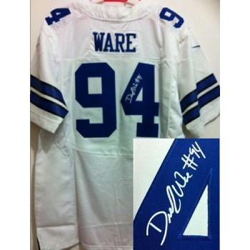 Nike Dallas Cowboys No.94 DeMarcus Ware White Male Elite Autographed Jersey