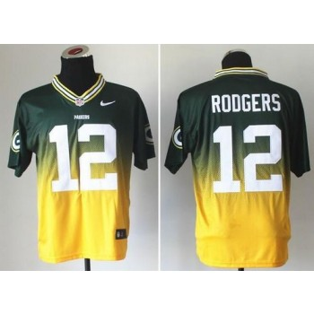 Nike Green Bay Packers No.12 Aaron Rodgers Green Gold Male Embroidered Elite Fadeaway Fashion Jersey