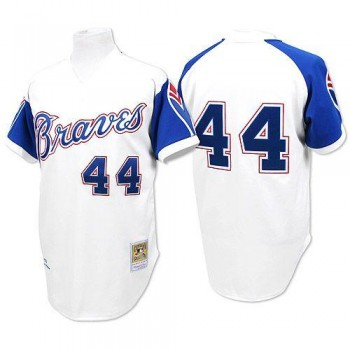 MLB Braves 44 Hank Aaron White 1974 Mitchell and Ness Throwback Men Jersey