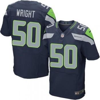 Nike Seattle Seahawks No.50 K.J. Wright Steel Blue Inwought Elite Jersey