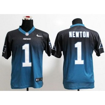 Authentic Panthers No.1 Cam Newton Black/Blue Mens Stitched Football Fadeaway Elite Jersey Order