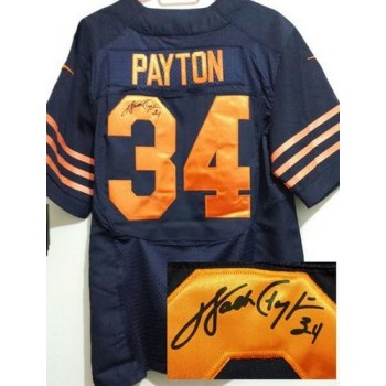 Bears No.34 Walter Payton Navy Blue Mens Football Inwrought 1940s Elite Throwback Autographed Jersey Order